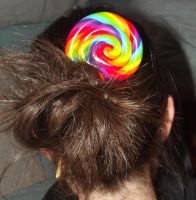 Rainbow lollipop hairstick by MeticulousBlue