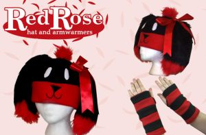 RedRose Hat + Armwarmers by cuddlecraft