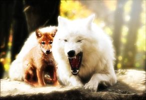 wolf and pup by TrishaCobey