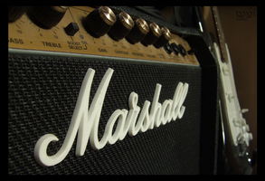 My Marshall amp and e-guitar by Qwchen
