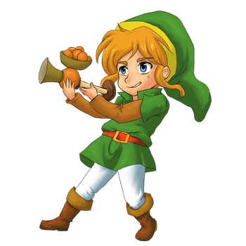 Link with Seed Shooter by SasamiInu