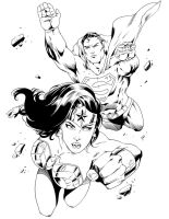 Superman and Wonder Woman by Marcio Abreu by frostdusk