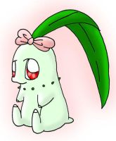 Chikorita wearing a ribbon by saanailija