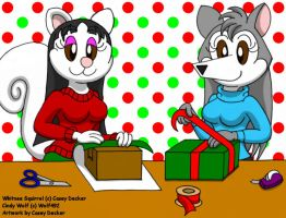 Whitnee and Cindy - Wrapping Presents by CaseyDecker