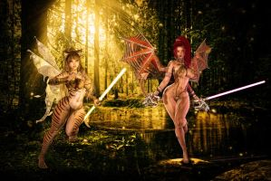 Temporary Alliance: Jedi Fairy and Succubus Sith by ambient-avalancher