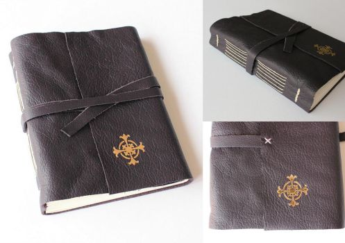Puple Leather Journal with a Gilded Cross by GatzBcn