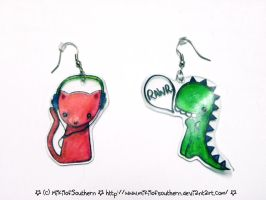 Shrinky Dink Earrings :3 by MikilofSouthern