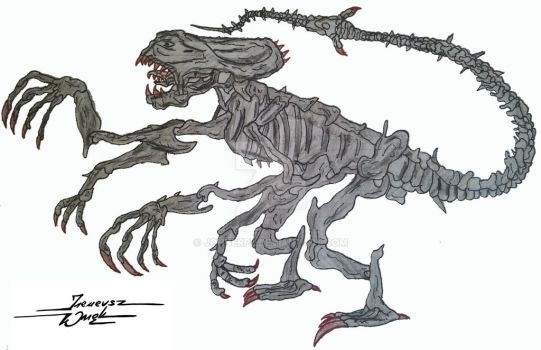 My first draw of Alien Queen - age 9 (1991) by JohnerPL