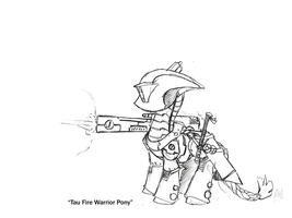 Tau Fire Warrior Pony by PoniesOfTheKeene