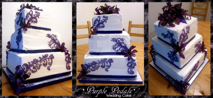 Purple Pedals Wedding Cake by Perry-the-Platypus
