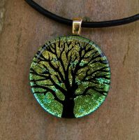Green Gold Tree Fused Glass by FusedElegance