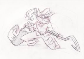 Sly Cooper Pencil Drawing by Phewfus