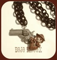 Cowgirl and Gun Necklace by Bojo-Bijoux