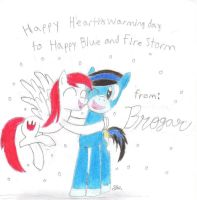 A Christmas gift for Happy Blue and Fire Storm by BrogarArts