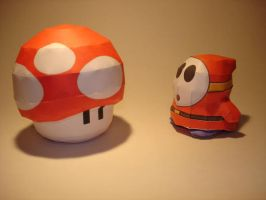 Mushroom n Shyguy Papercraft by Skele-kitty