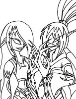 Celerita and Maryse Line Art by TheDocRoach