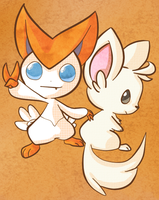 Victini and Chillarmy by JosepherusB