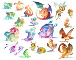 Watercolor Pokemon! 001-018 by nicholaskole