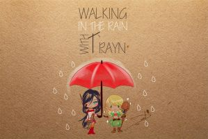 walking in the rain with trayn by DessartWorks