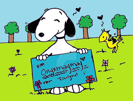Snoopy and Woodstock Colored by Onyxmaymay