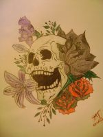 Skull and flowers tattoo by kodythedog422