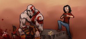 Seraz juega God of war by jotailustrador
