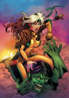 Rogue and Hulk by viniciustownsend