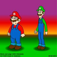 Toon Mario and Luigi by TheRealSneakers