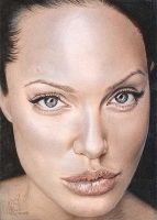 Angelina Jolie Color Drawing 2 by riefra