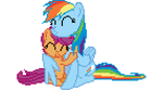Rainbow Dash and Scootaloo Pixelized! by LegoGuy87
