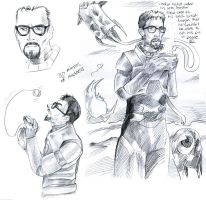 Gordon Freeman Sketches by muffin-wrangler