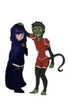 young justice - beast boy and raven by SkaterSkittle