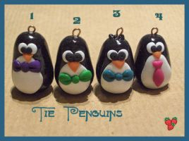 Bow-Tie Penguins, fimo by merylu