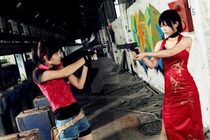 Resident Evil 2: Ada Wong and Claire Redfield by cat12370
