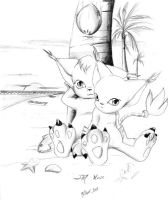 Kitties in the beach by Mouse-and-BlackGato