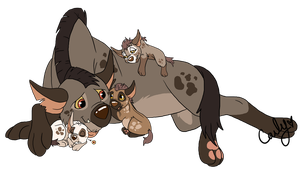 Father and Cubs Hyena adopts CLOSED by Carlene707