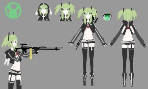 Green snipe shooter Black rock OC reference by sounds-like-balloons