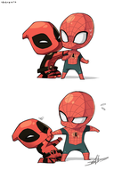 Spider-man and Deadpool by Uberzers