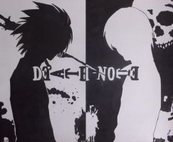 Light and L (Death Note) by RyuFujin4