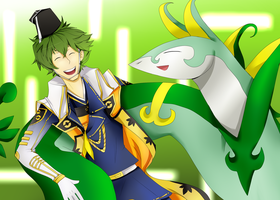 Pkm Conquest Motonari and Serperior by Swiftspill