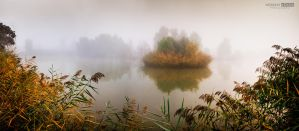 Misty autumn morning on the lake Kenderfold by NorbertKocsis