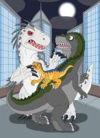 Tyrant and Old Lace VS Indominus Rex by MCsaurus