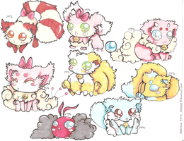 Fluffy Pokemon Hybrid Adopts CLOSED by PinkMelodii