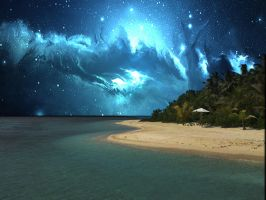 Sea with night sky by Angela-White