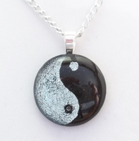 Silver Yin-Yang Fused Glass by HoneyCatJewelry