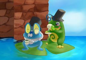 Froakie and Politoed Request by prankster-kun