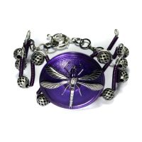 Purple Dragonfly Bracelet by CatherinetteRings