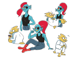 Undyne and Alphys by Beezii11