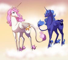 Celestia and Luna - Last Unicorn by Aira90