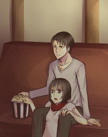 AU Rivamika watching Movie by Akeemi-chan
